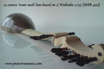 13 course ' swan neck' type baroque lute based on Leoplod Widhalm 1755. Back in Indian rosewood, neck in Flamed Maple. www.jminstruments.com