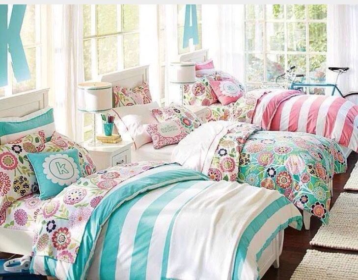 innovative girls bedroom furniture ideas | Triplet bedroom decorating idea for three girls. Triplets ...