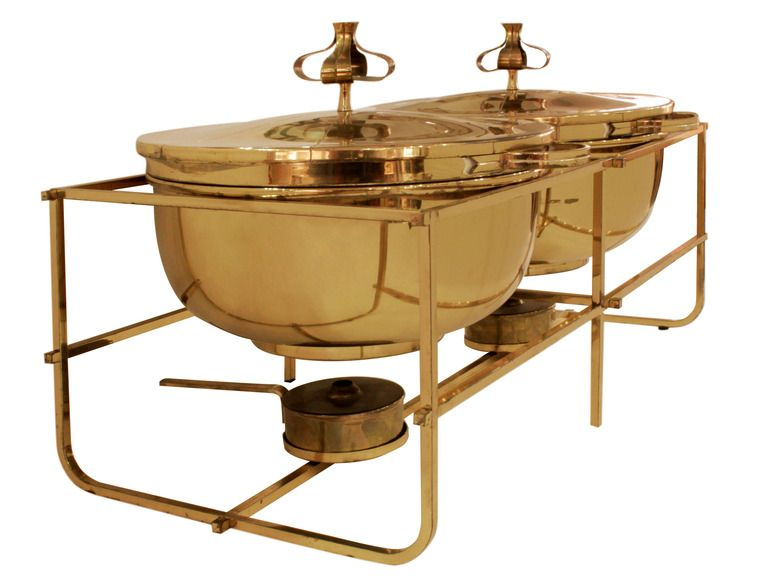 double chafing dish set in brass by tommi parzinger