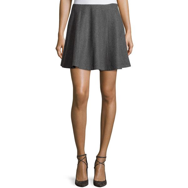 Theory Merlock Structured Circle Skirt ($89) ❤ liked on Polyvore featuring skirts, heather gr, structured skirt, flared skirt, circle skater skirt, circular skirt and skater skirt
