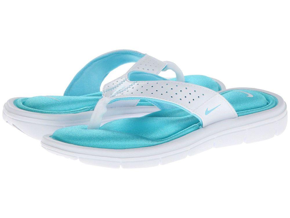 4973e660b455 Women s Nike Comfort Thong Flip Flops White Polarized Blue Size 7 NWT 354925   Nike  FlipFlops  Casual