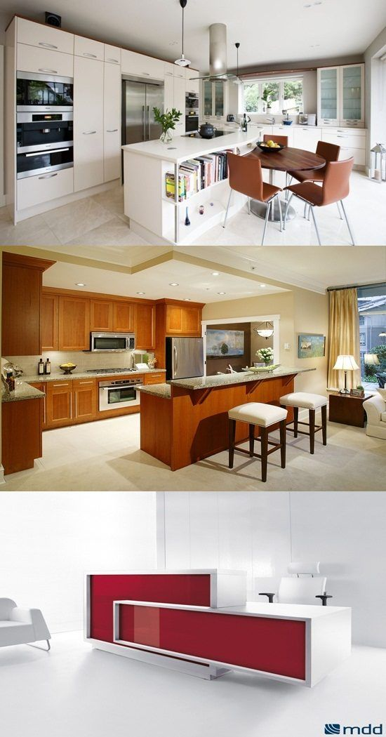 The round kitchen islands have different shapes and ...