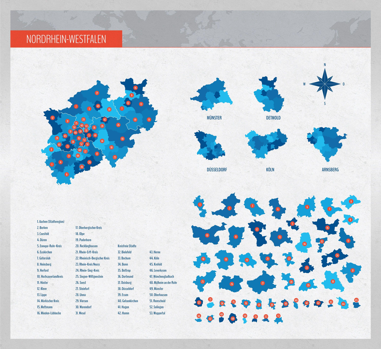Landkarte Nrw Nordrhein Westfalen Mit Landkreisen Westfalen