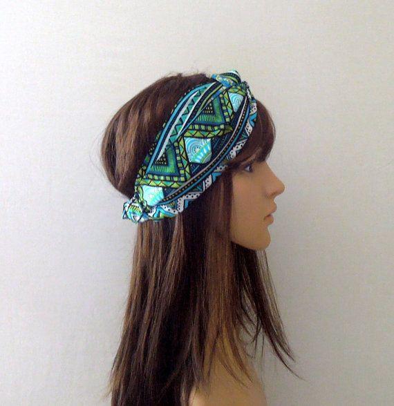 Blue/Green Aztec Turban Headband by AurellaBlue on Etsy, $13.00