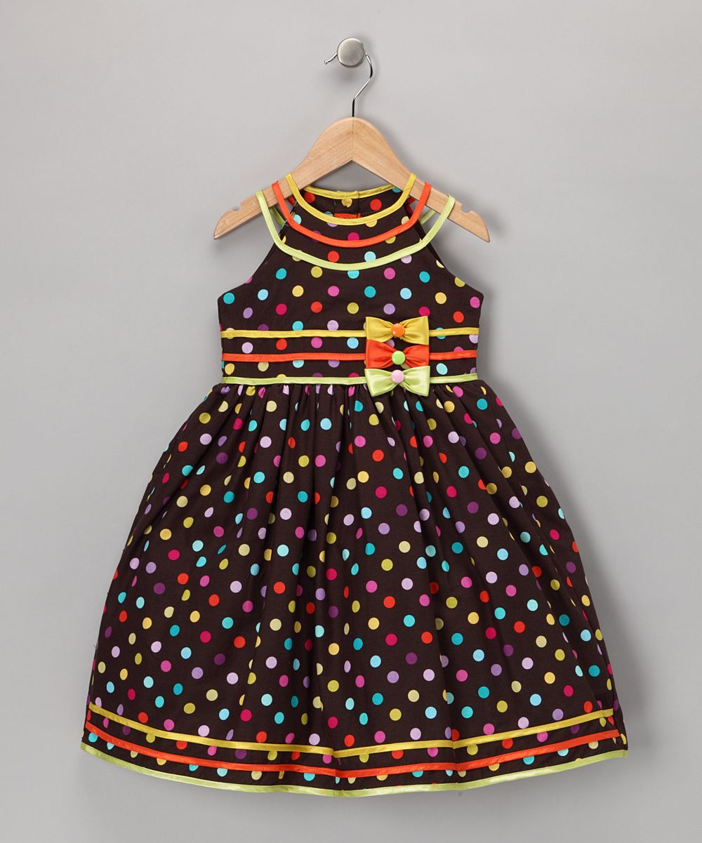 Brown Polka Dot Bow Dress - Toddler & Girls | Daily deals for moms, babies and kids