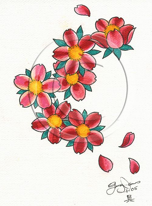 Elegant Cherry Blossom Flowers Tattoo Design