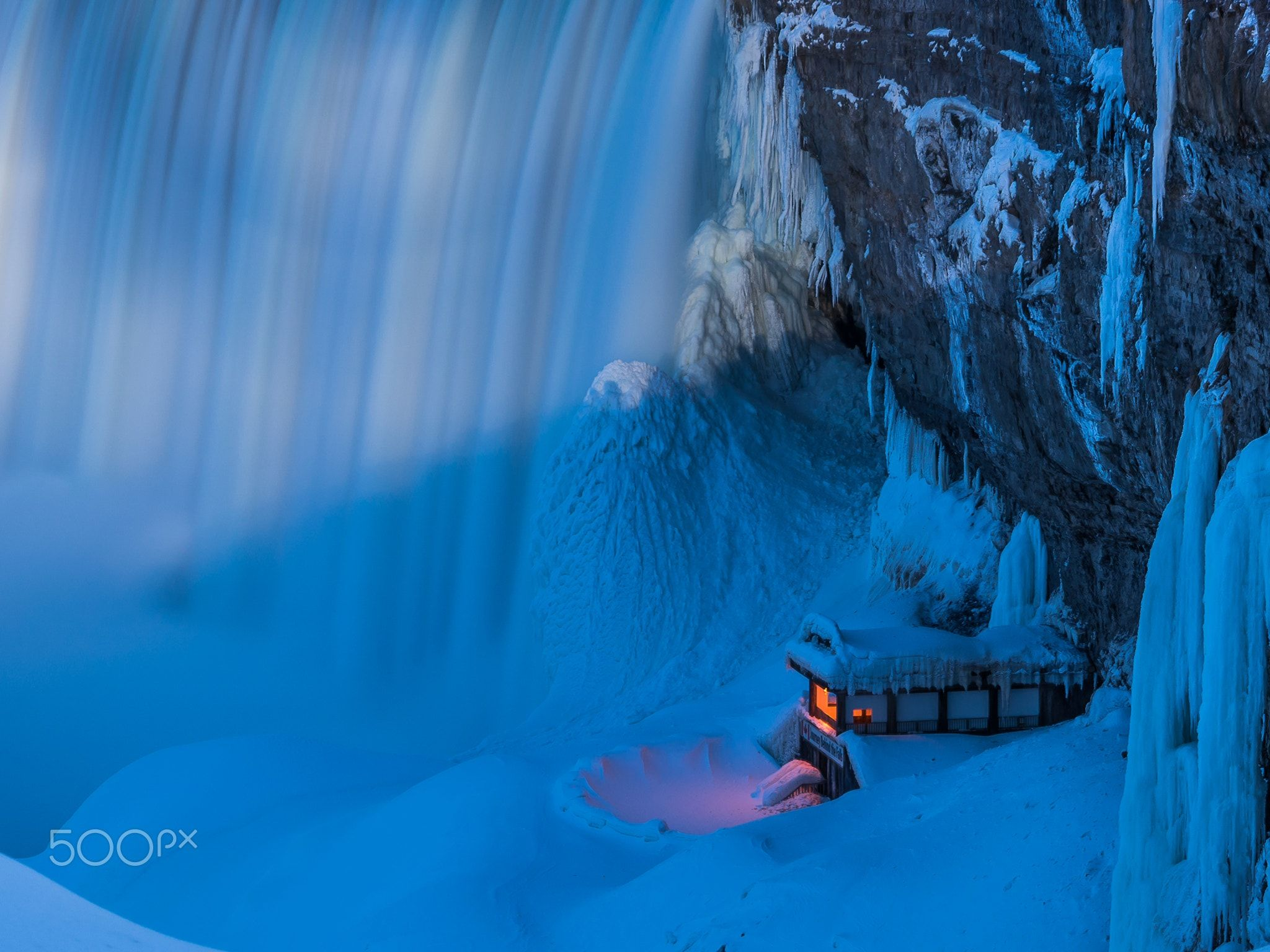 Niagara Falls Journey Behind the Falls in Winter - null
