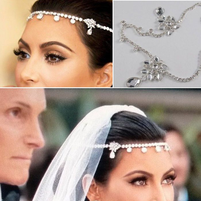 Wedding Bridal Jewelry Crystal Flower Forehead Drape Headpiece Hair Band  Chain cb5c61ca3608