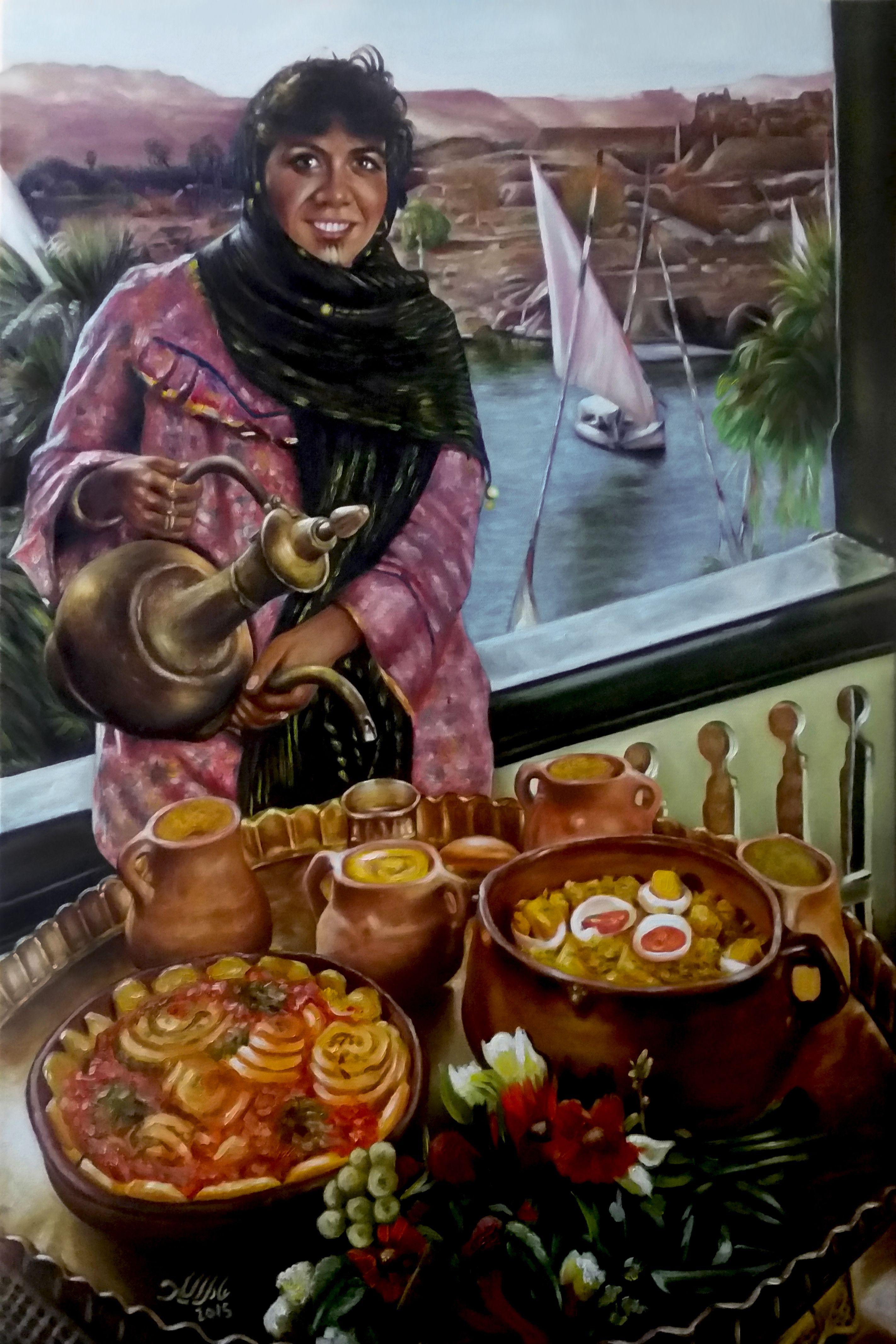 Adel Elliethy - Egypt Oil Painting Canvas 90 60 Egyptian Art Arabic
