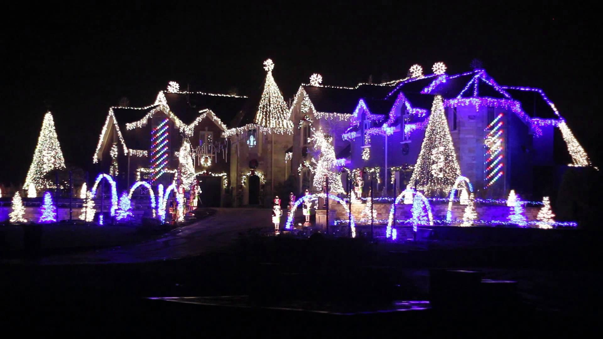 The Best Ever Larsen S Light Show 2013 God Bless The Usa Thanks To All In Our Outdoor Christmas Lights Christmas House Lights Purple Christmas Lights
