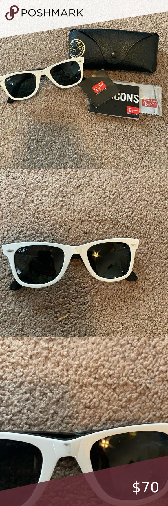 Authentic Rayban Wayfarer Sunglasses White Rayban Wayfarer Sunglasses. Slight bl…