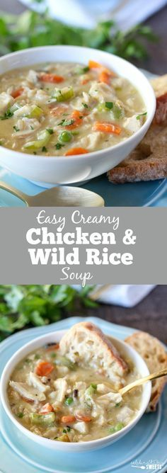 Creamy Chicken And Wild Rice Soup The Easiest Homemade Creamy Chicken And With Images Creamy Chicken And Rice Homemade Soup Soup And Sandwich