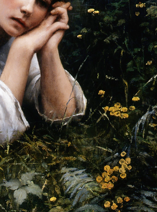 Reverie by Daniel Ridgway Knight, 1866 (detail) #gypsy