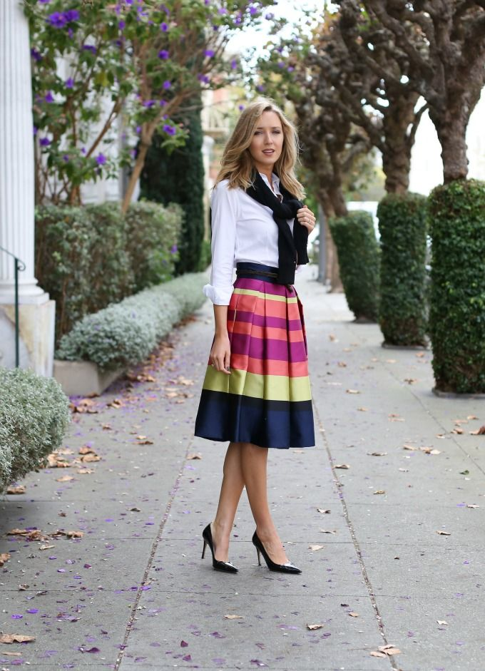 Striped Midi Skirt (MEMORANDUM) | Pump, Skirts and Daniel ...