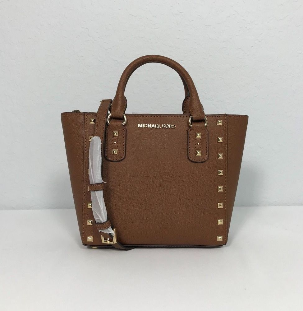 9f8a6adcd74c NWT Michael Kors Saffiano Leather Small Crossbody Studded Bag Brown New # MichaelKors #Crossbody