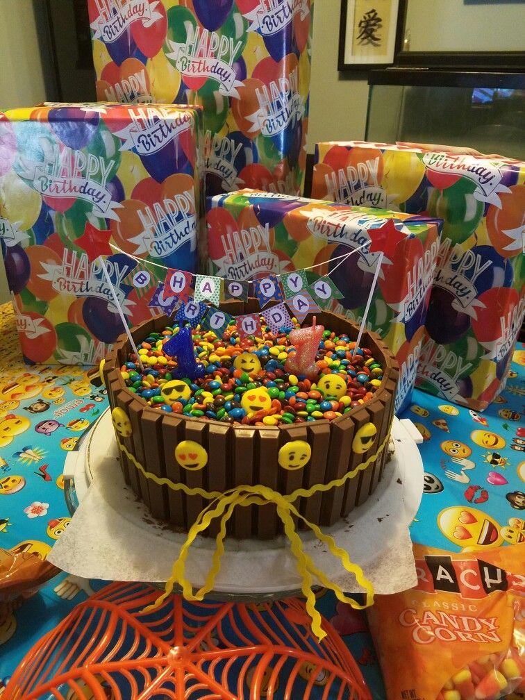 Chocolate Emoji Kit Kat And Mm Cake 10 Birthday Cakes Ideas