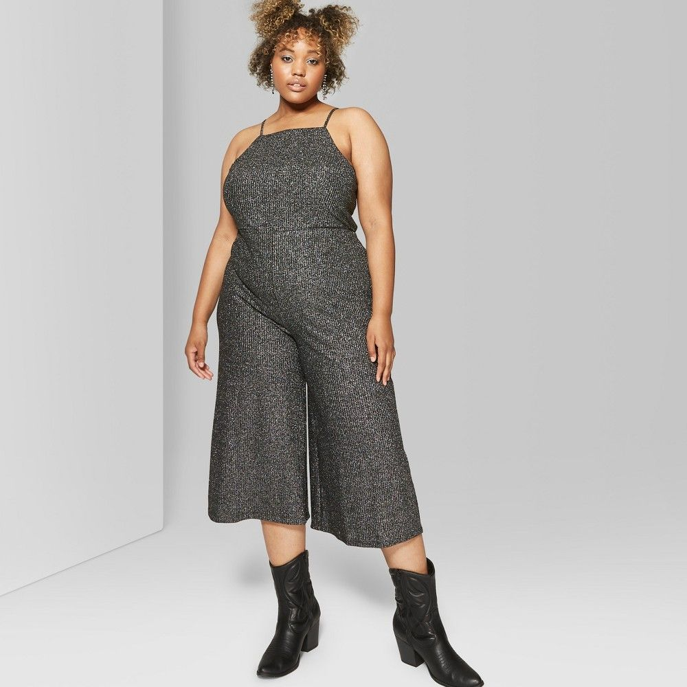 b7228184503 Black glittery jumpsuit with square neckline. Features adjustable straps  that tie to find the right fit. Cropped hems land mid calf. Size  2X.