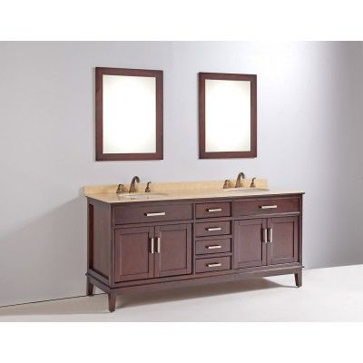 """72"""" SOLID WOOD SINK VANITY WITH MIRROR AND FAUCET"""