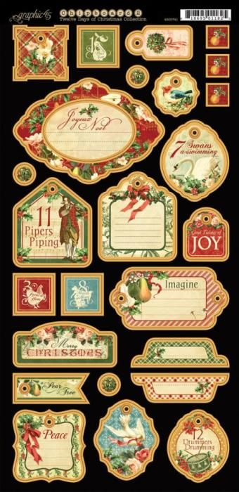 Graphic 45 The Twelve Days of Christmas CHIPBOARD 2