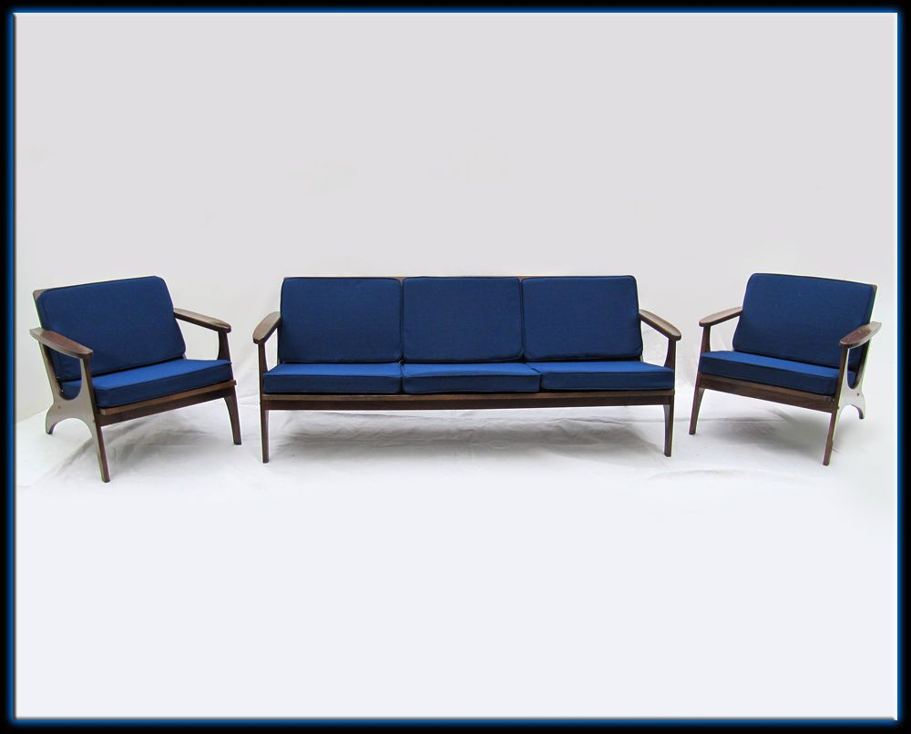 SOLD - 50s Mid Century Blue 3 Piece Sofa Chairs Set Wood Frames New ...
