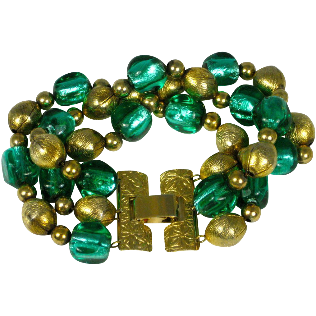 Vintage Napier 1950's Foiled Art Glass Bracelet offered by the The Vintage Jewelry Boutique a Ruby Lane Shop