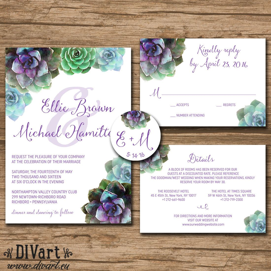 Succulent Wedding Invitation Suite, Response Card, Monogram ...