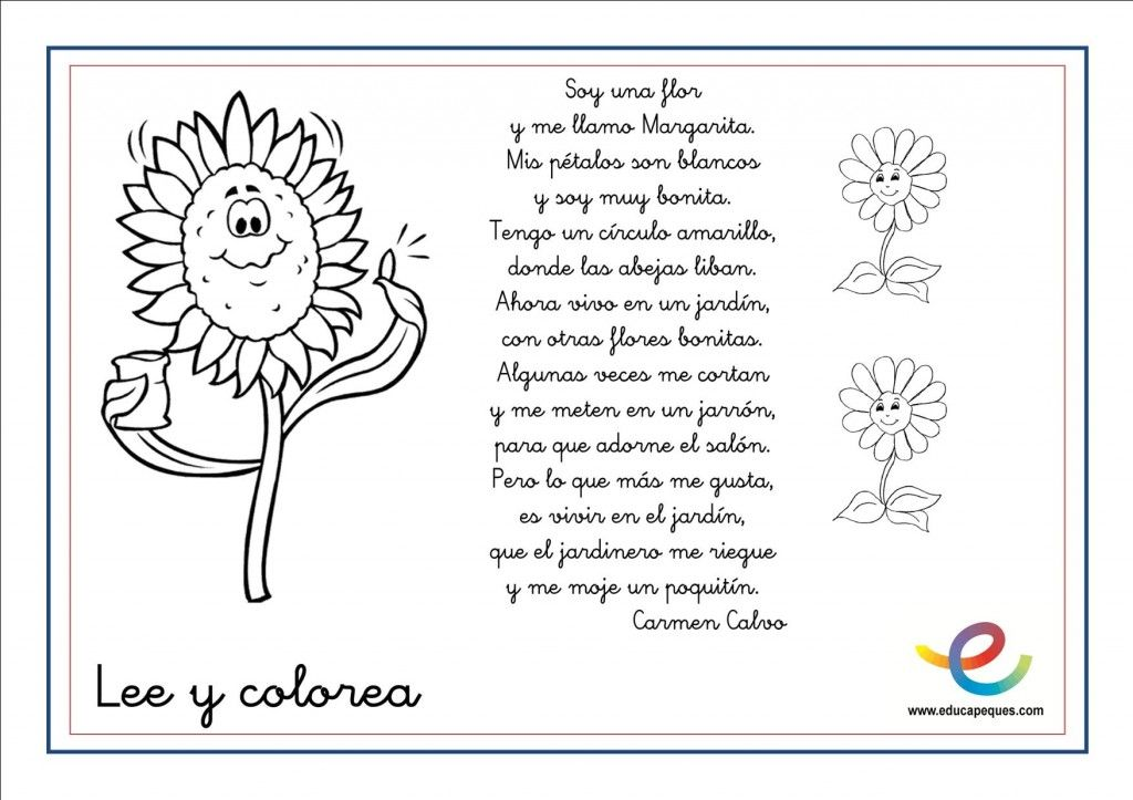 Poemas de primavera para niños y niñas. Lee y colorea   primavera ...
