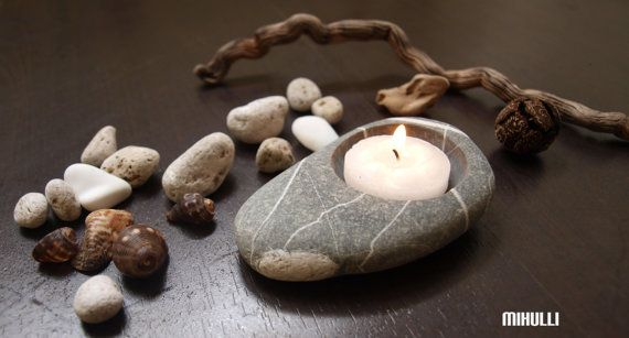 tea time  pebble hand made candlestick  beach stones by Mihulli, $15.00