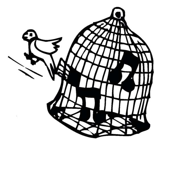 Canary Singing In Bird Cage Coloring Pages