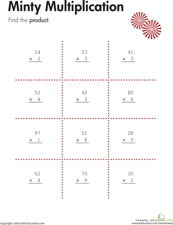 Two Digit By One Digit Multiplication Multiplication Math And