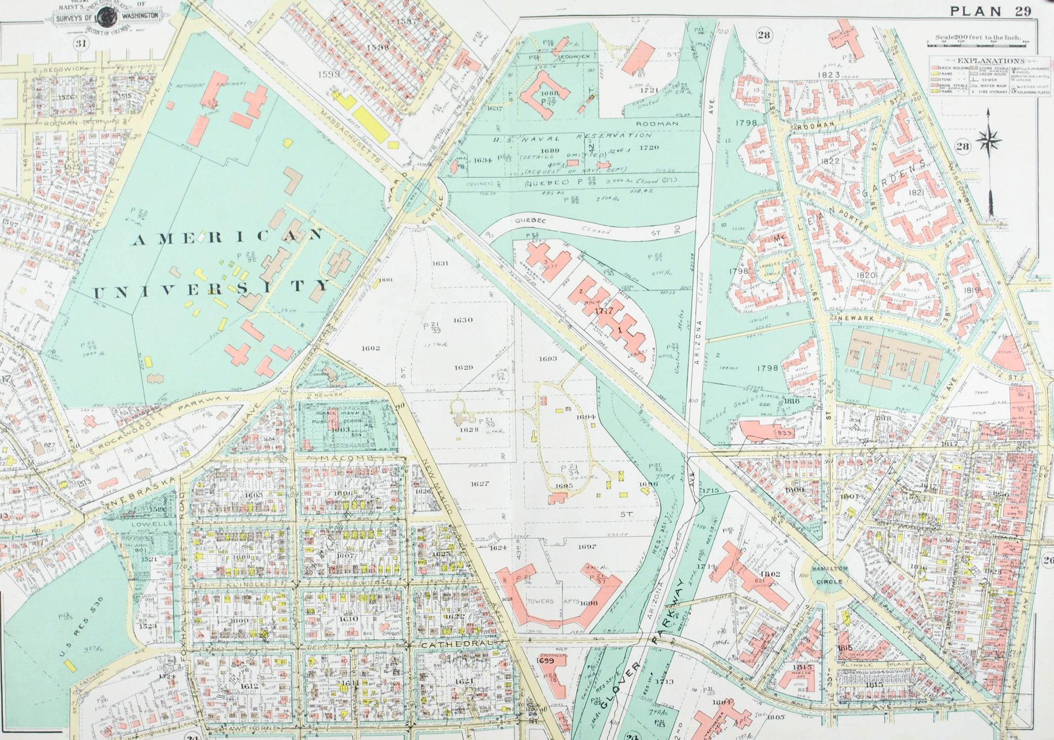 Washington DC American University Vintage Baist City Map 1960