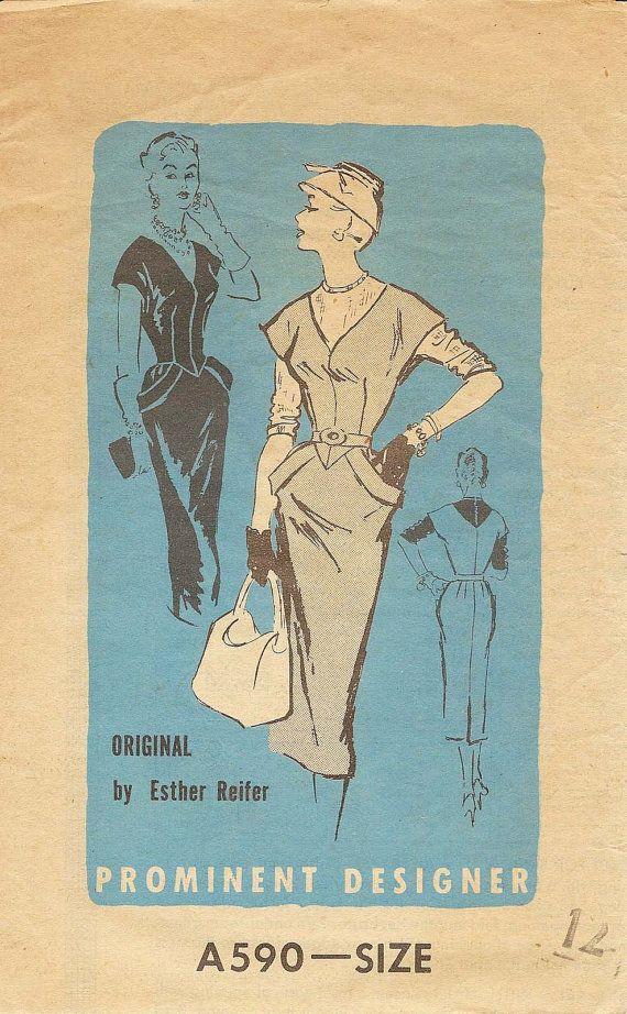 1950s Vtg Sewing Pattern PROMINENT DESIGNER Esther by DontSassMe, 75.00
