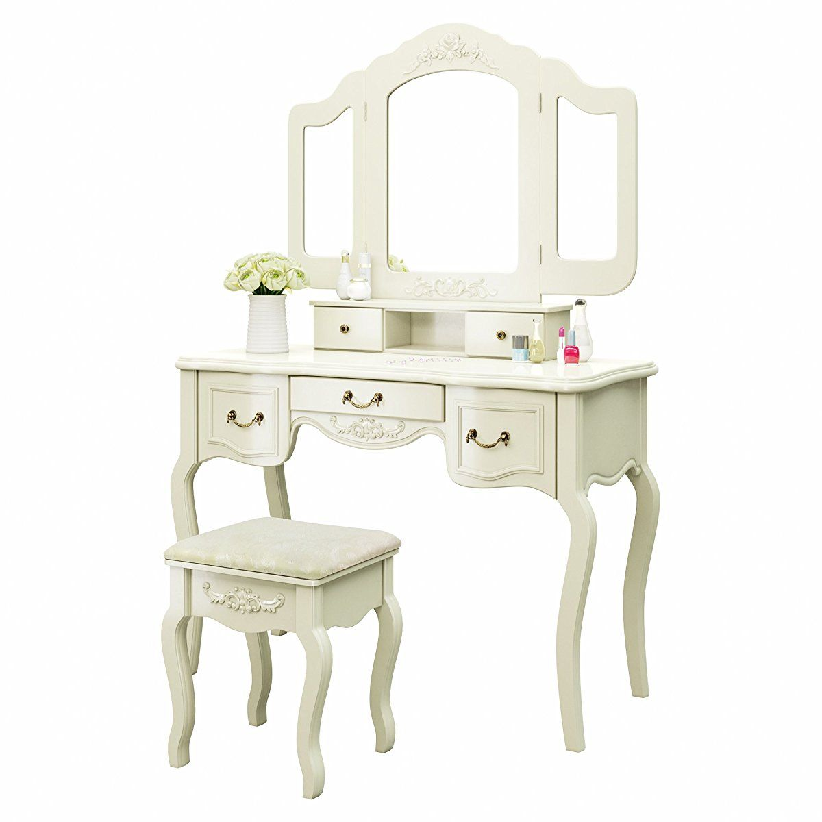 Tribesigns French Vintage Ivory White Vanity Dressing Table Set Makeup Desk With Stool Mirror Bedroom Vintage Stool White Dresser Vanity [ 1200 x 1200 Pixel ]