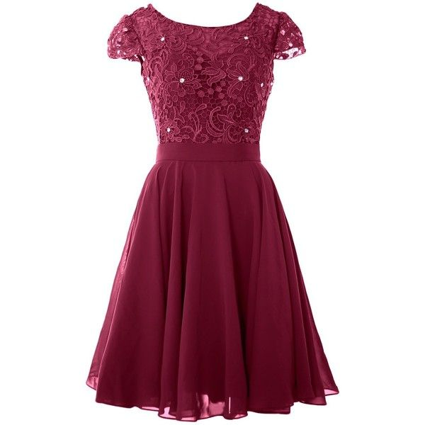 MACloth Women Cap Sleeve Lace Short Mother of the Bride Dress Evening... (