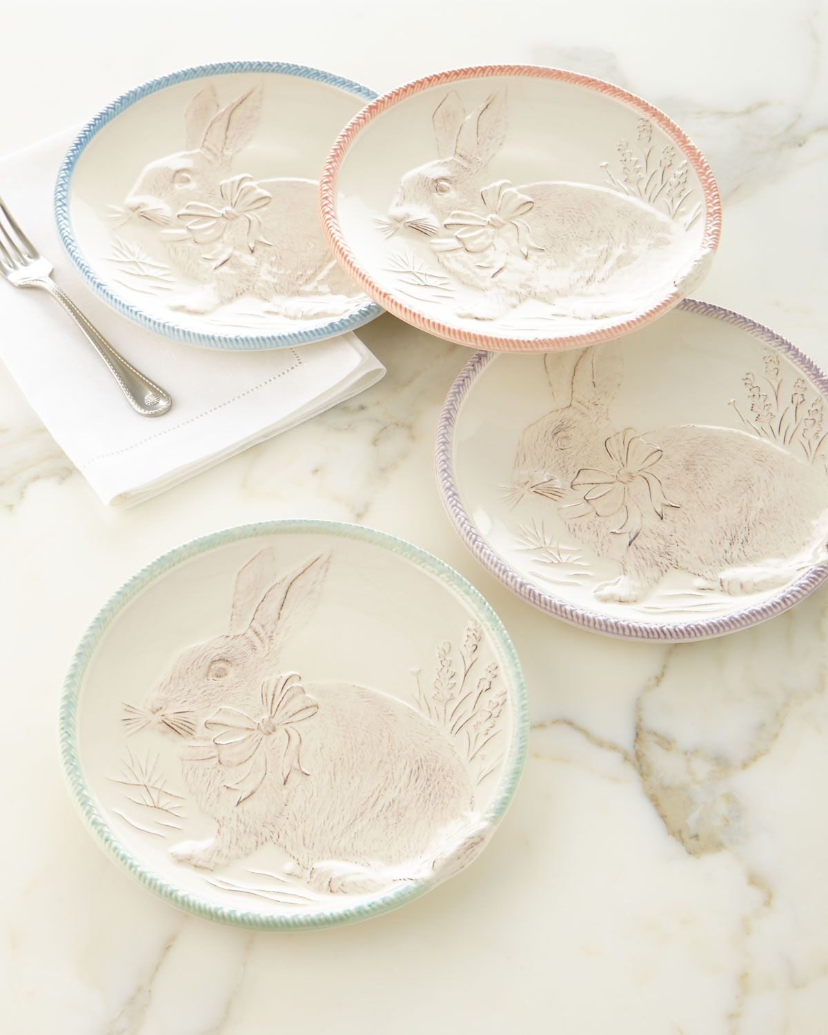 Easter Bunny Party Plates, Set of Four