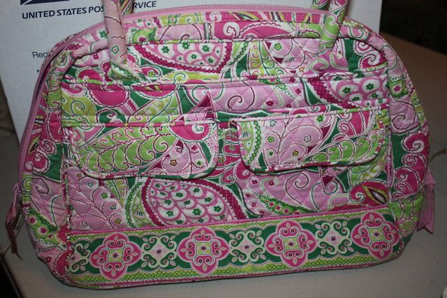 Vera Bradley Pinwheel Pink Double Handle Handbag. Starting at $20 on Tophatter.com!