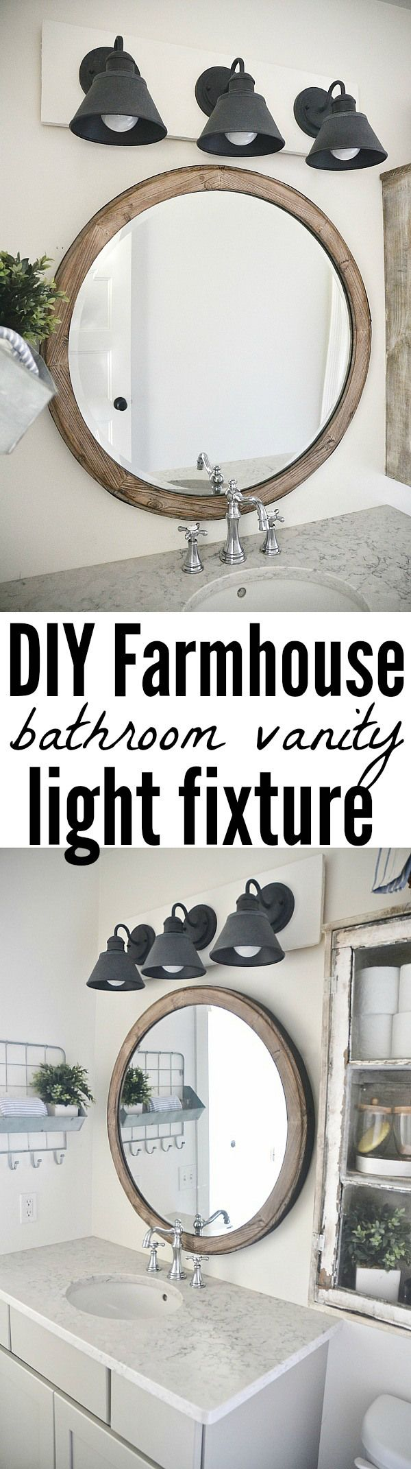 DIY Farmhouse Bathroom Vanity Light Fixture | Blogger Home Projects ...