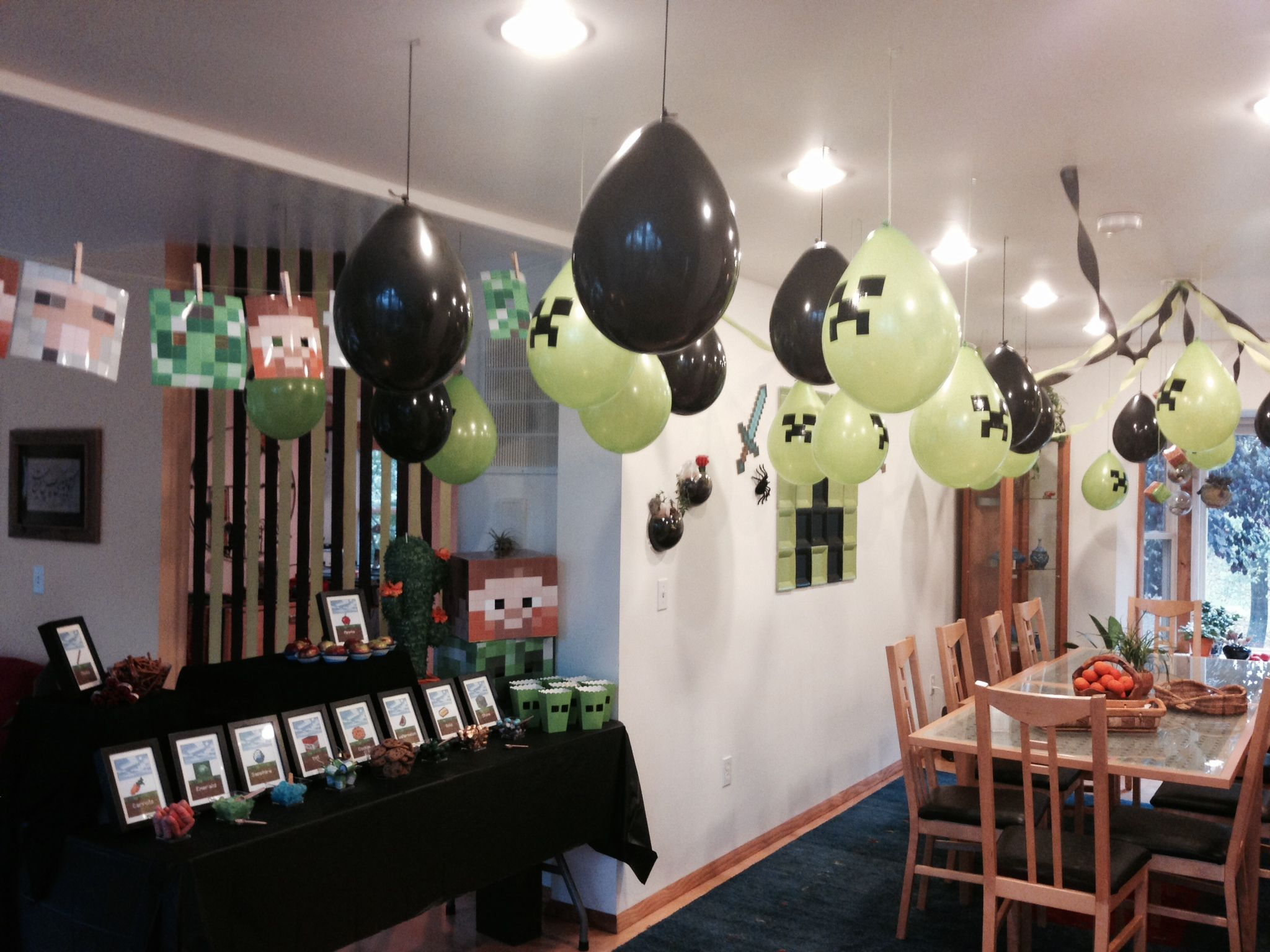 Mine Craft Birthday Party Balloons 9 Year Old Boy