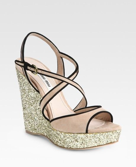 c73dcfb942f Glitter and Suede Slingback Wedge Sandals