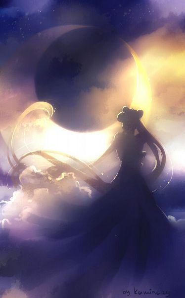 Tags: Princess, Bishoujo Senshi Sailor Moon, Tsukino Usagi, Princess Serenity, Crescent Moon, Silhouette