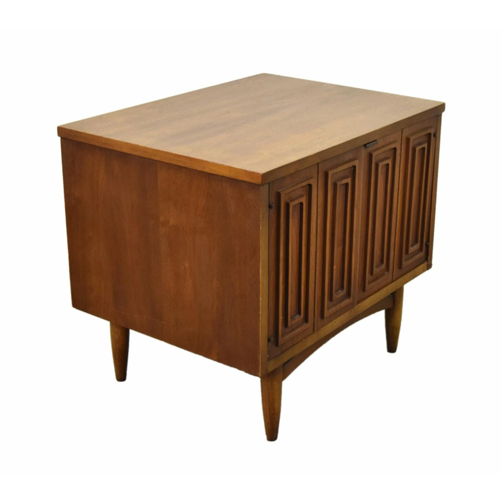 1960s Mid Century Modern Geometric Walnut End Table With Cabinet