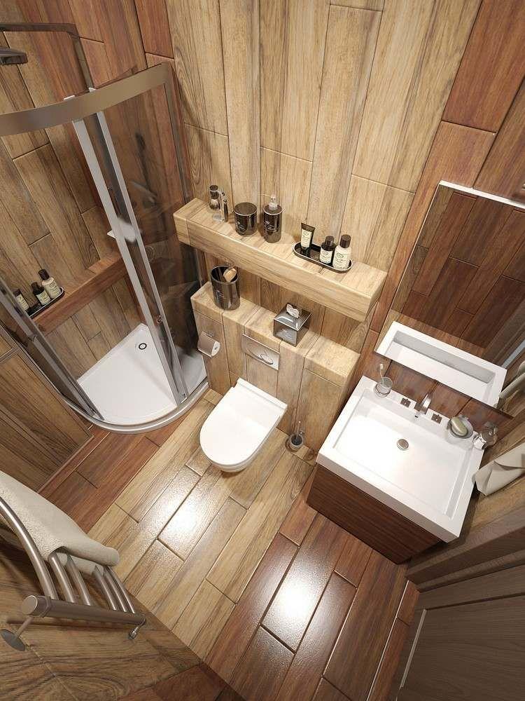 Bad Fliesen in Holzoptik an Wand und Boden  Eckduschkabine  Zuknftige Projekte  Modern