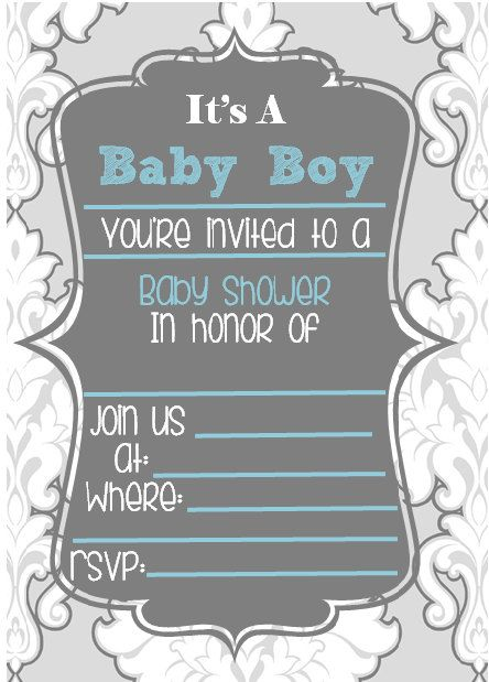 Blue Baby Boy Shower Invitation