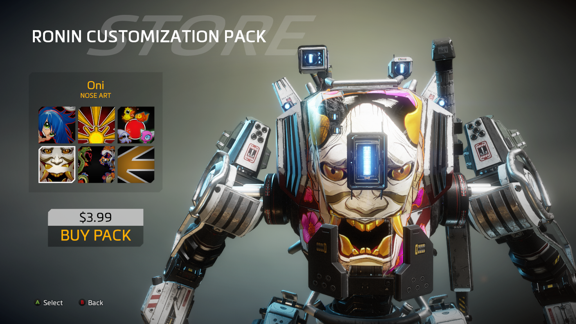 Ronin nose art: Oni | Titans: Mechs in Titanfall 2 in 2019
