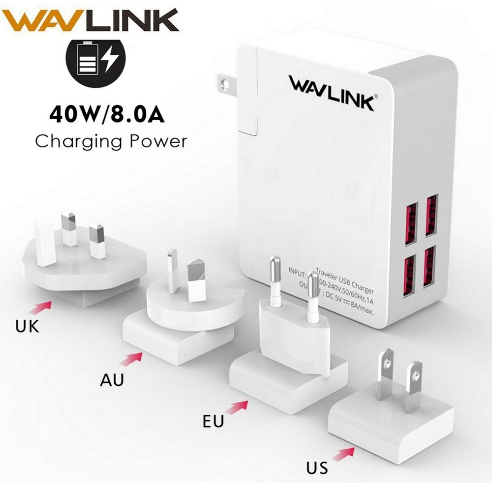 Wavlink Traveler Usb Charger 4 Port Adapter 8a With Replaceable Eu Us Au Uk Plug Mobile Phone Universal Portable Review