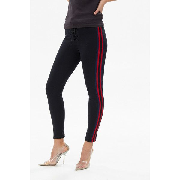 38c8c618beb8c YEEZY Stripe Football Legging ($403) ❤ liked on Polyvore featuring pants,  leggings, striped trousers, white trousers, stripe pants, white lace up  pants and ...