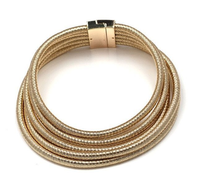 Women's Fashion Chic Coils Choker Necklace or Bracelets Multilayer Coiled Rope Chain Kardashian Magnet Collar Necklace Maxi Jewelry