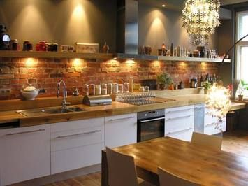 Wood Countertop W Brick Backsplash Kitchen Ideas