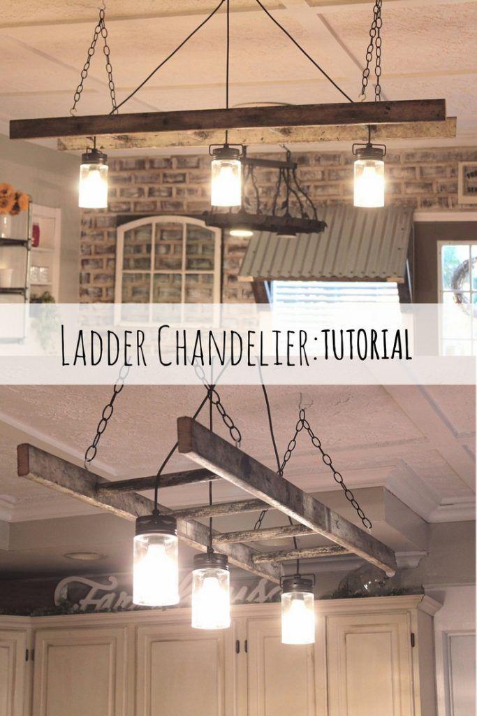 Diy Ladder Chandelier Diy Ladder Primitive Decorating Country Chandelier