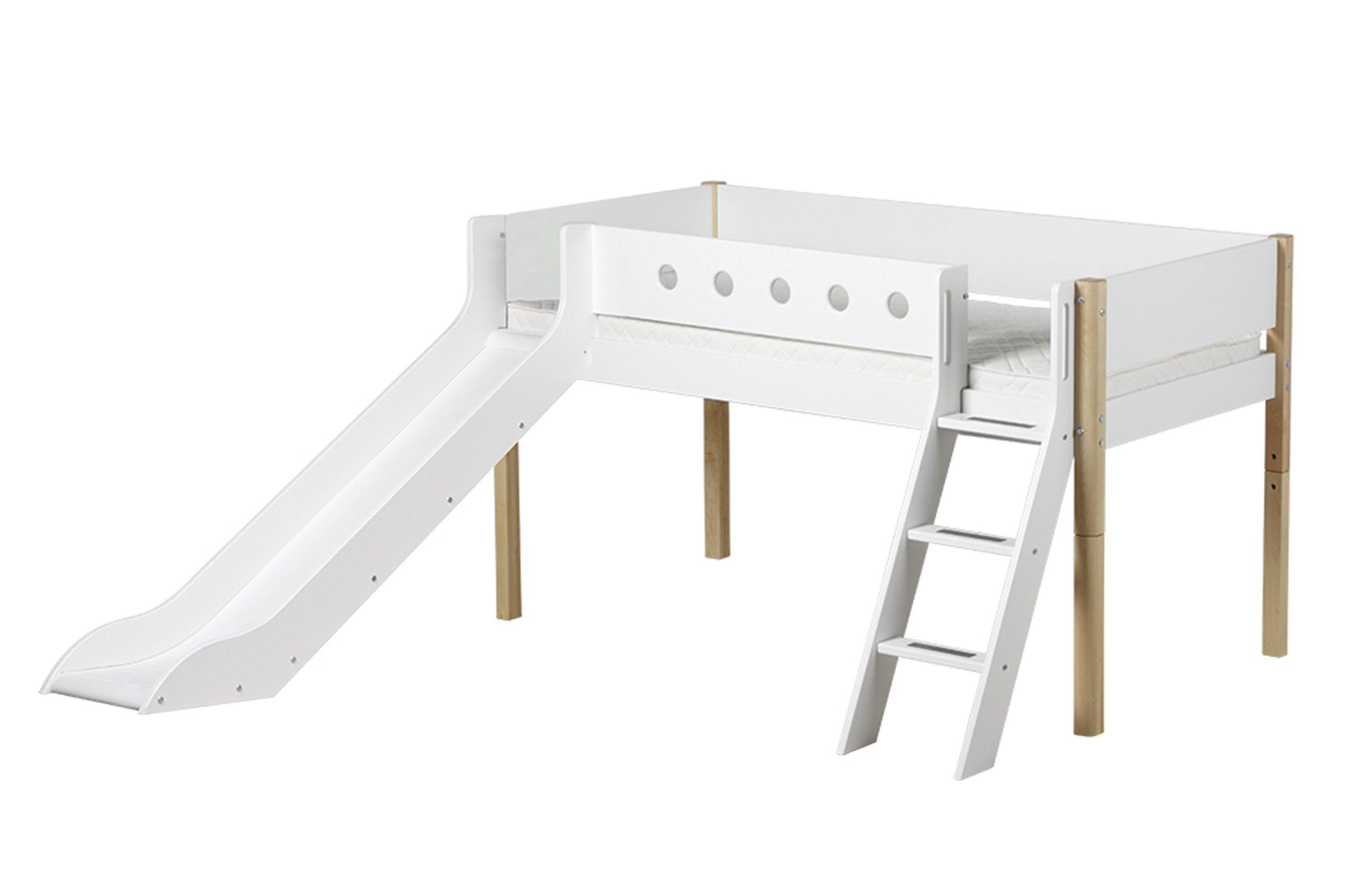 Halfhoogslaper Beter Bed.Halfhoogslaper Met Trap En Glijbaan Flexa White In 2019